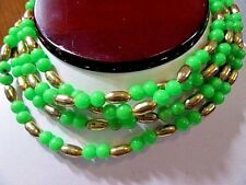 SMALL NEON GREEN AND BRASS LONG STRAND BEADED NECKLACE LUCITE VINTAGE CUTE