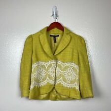 Robert Rodriguez Women's Cropped Tweed Lace Blazer in Lime Yellow Size 4