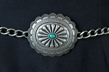 "Retro Concho Chain Belt 32-39"" Silver Tone Metal Faux Turquoise Wide Indian"