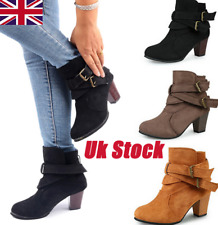 LADIES WOMENS CHELSEA LOW CUBAN HEEL ANKLE BUCKLE CASUAL BOOTS SHOES SZ 3-8