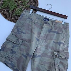 NWT American Eagle Mens Shorts Green Camouflage Camo Cargo Pockets 33