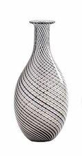 "New 14"" Hand Blown Art Glass Teardrop Vase Black White Clear Swirl Decorative"