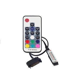 12V DC SATA RGB Controller RF Remote Controler Wireless For PC Case LED Strip