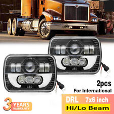 2x LED Headlights DRL Headlamps for International 5900i 7300 7400 9200 9400 9900