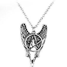 SUPERNATURAL PENTAGRAM & WINGS CHARM NECKLACE sam dean winchester devil angel