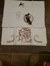 vintage embroidered pillowcases, horse theme