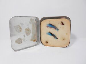 Vintage Alloy Cast Fly Box  - Complete with Felt & Flies.