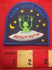 Boy Scout UFO Patch w/ GREEN MARTIAN SPACE ALIEN Reach For The Stars 00WY