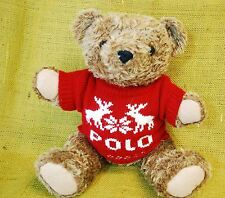 "Ralph Lauren 1998 Polo Plush Brown Bear 15"" - Red Reindeer Christmas Sweater"