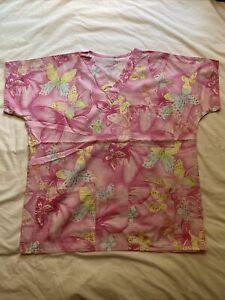 S.C.R.U.B.S. Pink And Yellow Butterfly Scrub Top M 3-Pocket Nurse