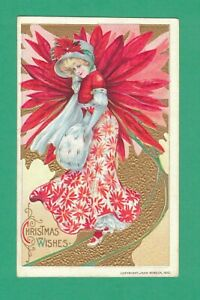 1915 WINSCH CHRISTMAS POSTCARD BEAUTIFUL LADY HAT MUFF POINSETTIA