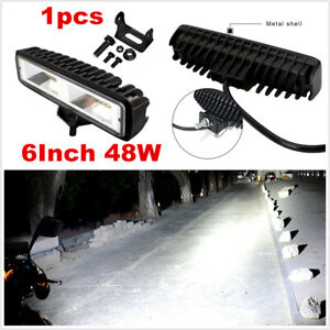6Inch 48W LED Work Light Bar Spot Beam Offroad Truck Fog Driving Lights 4WD 4x4