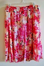 Ladies Laura Scott Floral Skirt Long Length Pink Passion Size 3 X New