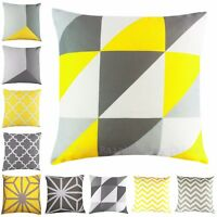 Yellow & Grey Geometric Cushion Cover Linen Look Fabric 18 inch / 45 cm
