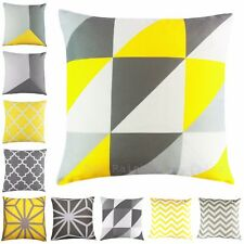 Yellow & Grey Geometric Cushion Cover Linen Look Fabric 18 inch / 45 cm