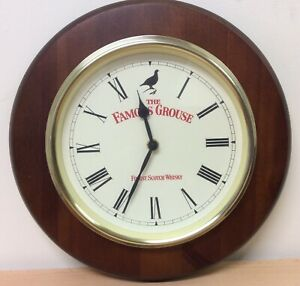 """UTS Quartz 'The Famous Grouse' Scotch Whisky German 12"""" Wall Clock Working (CW)"""