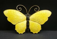 "LARGE 2 3/8"" Yellow Sterling Silver & Enamel Butterfly Pin David Andersen Norway"