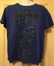 100% Authentic Roberto Cavalli SS T-Shirt Top Blue Size XL HYH03T JE047 BNWT