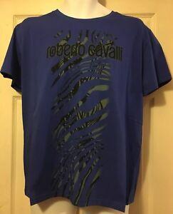 100% Authentic Roberto Cavalli SS T-Shirt Top Blue Size XL HYH03T JE047 BNWT