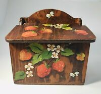 Vintage Wood Recipe Box Hand Made Painted Strawberries 5x3 Cards Country Cottage