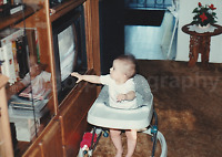 TV BABY Vintage FOUND PHOTO Color FREE SHIPPING Original Snapshot TELEVISION 739