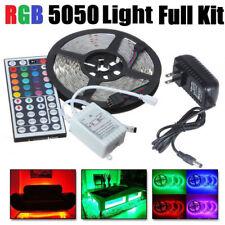 5M RGB 5050 300LED Strip Light SMD 44 Key Remote 12V US Power Full Kit