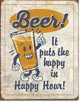Happy Hour Beer Retro Kitchen Bar Humor Funny Wall Art Decor Metal Sign