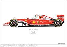 2016  Sebastian Vettel Ferrari SF16 ltd ed.No 1/ 250 signed & numbered by artist