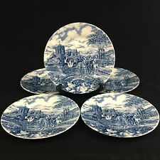 Set of 5 VTG Bread Plates Churchill Royal Mail Blue Wessex Stage Coach England