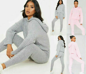 WOMENS LADIES CABLE KNITTED HOODED LOUNGEWEAR SUIT TWO PIECE SET TRACKSUIT