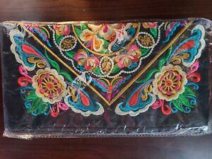 Hippie Boho Bohemian Colorful Makeup Stash Bag Pouch with Purple Tassel Zipper