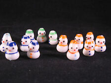 Jolly Snowman Lampwork Glass Bead Lot of 12 - Unused Multi color