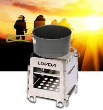 LIXADA Portable Stainless Steel Ultra-light Folding Wood Stove Pocket Stove V2X5