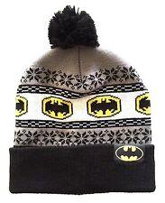 DC COMICS BATMAN LOGO FAIR ISLE NORDIC CUFF POM BEANIE KNIT WINTER HAT SKI CAP