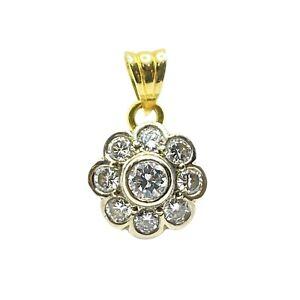 Diamond 18ct Gold Flower Pendant (VAL $2900)