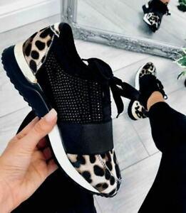 ANIMAL PRINT CHUNKY SNEAKERS RUNNERS COMFY LADIE TRAINERS PLATFORM SHOES LACE UP