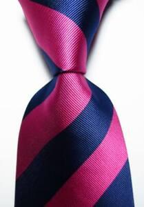 New Classic Striped Rose Blue JACQUARD WOVEN Silk Men's Tie Necktie