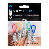 Chef Aid 5 colours towel hanger clips tea towels clothes holder hanging Hinchers