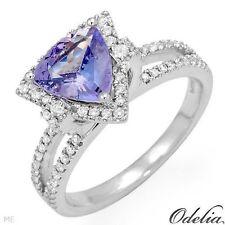 1.70CT Genuine Clean Diamonds and Tanzanite Ring 14K WG  No Reserve! WOW!