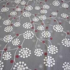 Stoff Meterware Baumwolle Blume grau weiß silber Eisblume Schweden Eiskristall