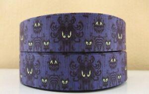 "By the Yard 7/8"" Disney Purple Haunted Mansion Wallpaper Grosgrain Ribbon  Lisa"
