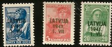 1941 LATVIA WWII NAZI GERMANY OCCUPATION LIBERATION FROM RUSSIA 3 OVERPRINT MINT