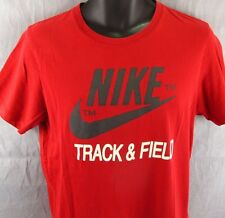 Nike Track & Field Organic Cotton T-Shirt Black Label Tag Medium Red Tee Swoosh