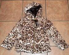 Girls GEORGE Printed FAUX FUR~LEOPARD COAT~size 4 5 6 6X 7 8~NWT~ Hooded Jacket