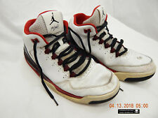 AIR JORDAN FLIGHT-ATHLETIC SHOES-SIZE 10-WHITE/RED TRIM-USED & DISTRESSED-AS IS!