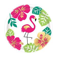 8 Hawaiian Aloha Pink Flamingo Small Paper Plates Tableware Dessert Buffet 18cm
