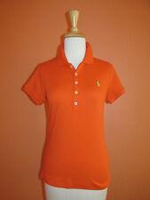 New Ralph Lauren Womens Size XL Orange Slim Fit Interlock Golf Polo Shirt