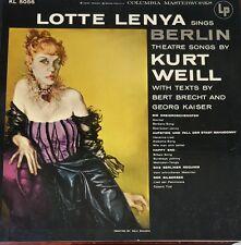 LOTTE LENYA sings BERLIN THEATRE SONGS by Kurt Weill Record LP 33 rpm COLUMBIA