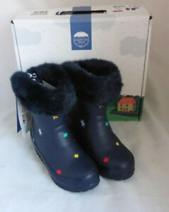 Joules Junior Chilton Navy Stars Welly Wellingtons Wellies Girl Kid Child Size 8