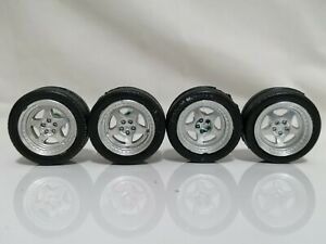 1/24 scale 5 Spoke Deep dish Wheels with rubber tyres Model kit diecast